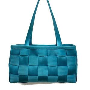 Harvey's Aqua Woven Seatbelt Shoulder Bag